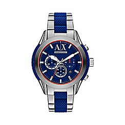 Armani Exchange - Men's stainless steel and blue bracelet watch