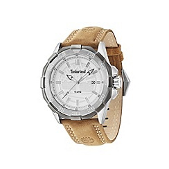 Timberland - Men's silver dial camel leather strap