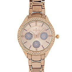 J by Jasper Conran - Ladies rose gold plated mock multi dial watch