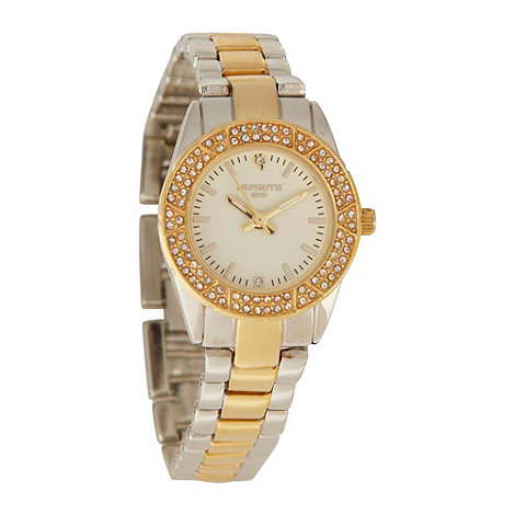 Infinite - Ladies gold zigzagging diamante case watch