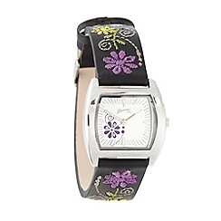 Mantaray - Ladies black embroidered strap watch