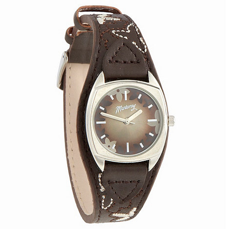 Mantaray - Ladies brown embroidered leather strap watch