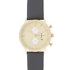 J by Jasper Conran - Men's dark grey leather mock chronograph watch