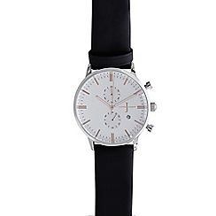 J by Jasper Conran - Men's black leather mock chronograph watch
