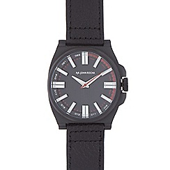 RJR.John Rocha - Black leather strap tonneau watch