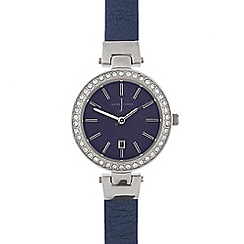 J by Jasper Conran - Navy stone bezel round watch
