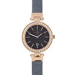 J by Jasper Conran - Ladies grey stone bezel round watch