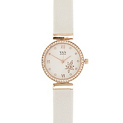 Van Peterson 925 - Ladies white leather analogue watch