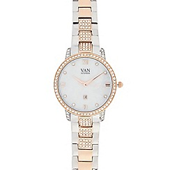 Van Peterson 925 - Ladies silver vermeil stone analogue watch