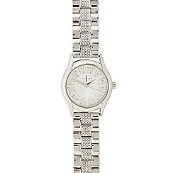 J by Jasper Conran - Ladies silver plated stone analogue watch