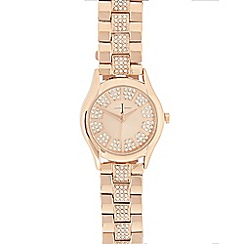 J by Jasper Conran - Ladies rose gold plated stone analogue watch