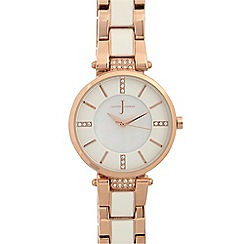 J by Jasper Conran - Ladies white regular t bar watch