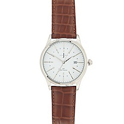 J by Jasper Conran - Designer men's brown leather croc-effect analogue watch
