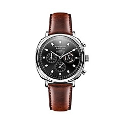 Hammond & Co. by Patrick Grant - Men's square chronograph watch with brown leather strap