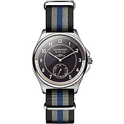 Hammond & Co. by Patrick Grant - Men's watch with blue and grey striped strap