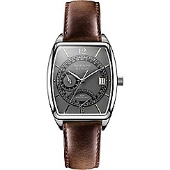Hammond & Co. by Patrick Grant - Men's Tonneau watch with brown leather strap