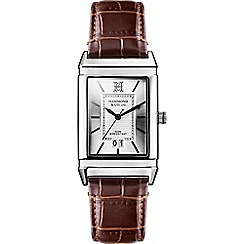 Hammond & Co. by Patrick Grant - Men's rectangular watch with brown leather strap