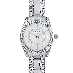 Infinite - Ladies silver plated stone encrusted round watch