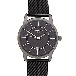 Infinite - Gents dark grey mesh analogue watch
