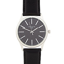 Infinite - Men's black leather-effect watch