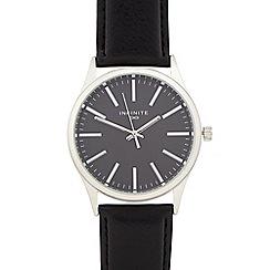 Infinite - Men's black leather-effect watch