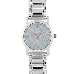 Red Herring - Ladies silver plated glitter round watch