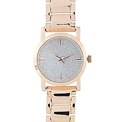 Red Herring - Ladies rose gold plated glitter round watch