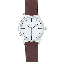 Red Herring - Men's brown leatherette buckle analogue watch