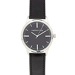 Red Herring - Men's black leatherette buckle analogue watch