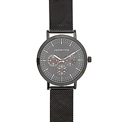 Red Herring - Men's black mesh mock chronograph watch