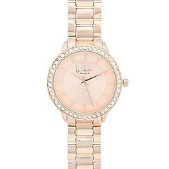 Principles by Ben de Lisi - Ladies rose gold plated crystal bezel round watch