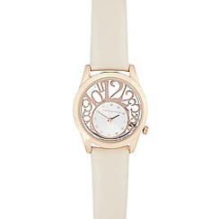 Red Herring - Ladies cream number cutout watch