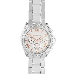 Red Herring - Ladies silver crystal bezel analogue watch