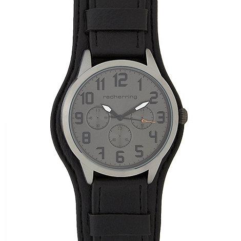 Red Herring - Mens black +St Pilot Cuff+ watch
