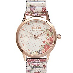Floozie by Frost French - Ladies pink rose analogue watch