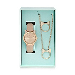 Floozie by Frost French - Ladies rose gold cat watch, ring and necklace in a gift box