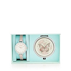 Floozie by Frost French - Light pink butterfly compact and watch gift set