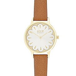 Floozie by Frost French - Ladies brown floral leather analogue watch
