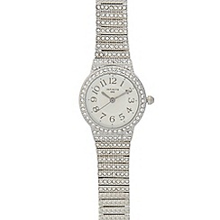 Infinite - Ladies silver plated stone set round watch