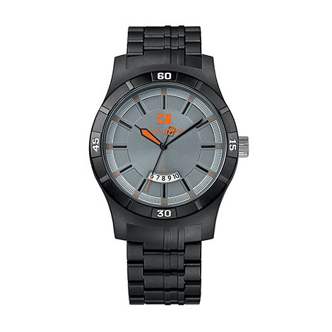 Boss Orange - Men's black round case plastic strap watch