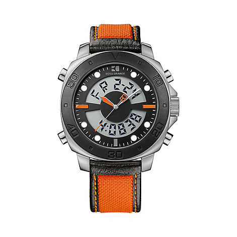 Boss Orange - Men+s orange illuminating dial rubber strap watch
