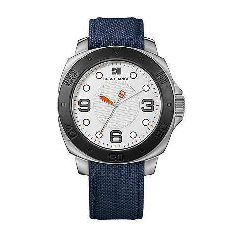 Boss Orange - Men+s blue round dial watch
