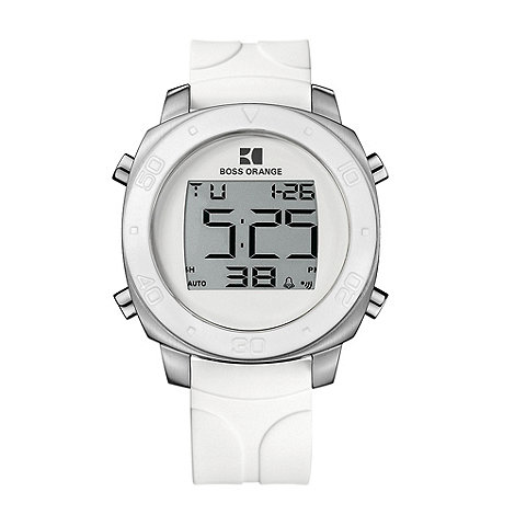 Boss Orange - Men+s white digital dial rubber strap watch