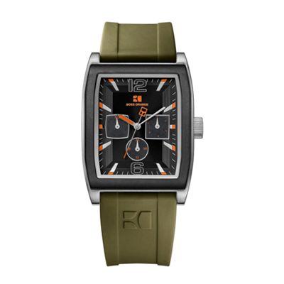 Boss Orange Men´s khaki square case rubber strap watch - . -