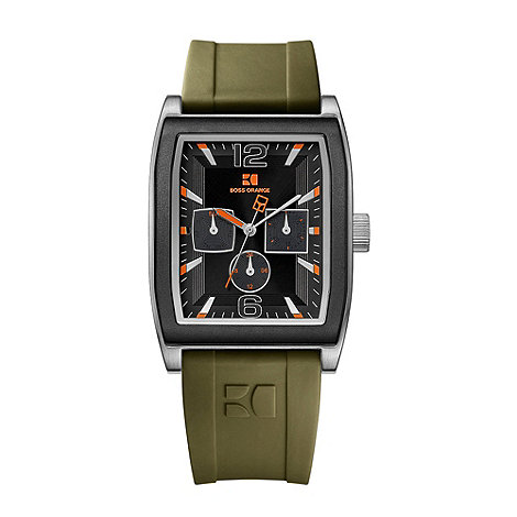 Boss Orange - Men+s khaki square case rubber strap watch