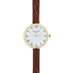 Infinite - Ladies brown mock croc analogue watch