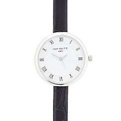 Infinite - Ladies black mock croc analogue watch