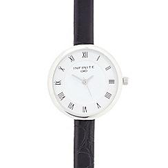 Infinite - Ladies black mock croc analogue watch