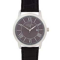 Infinite - Gents black mock croc analogue watch