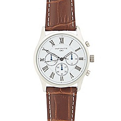 Infinite - Ladies brown leather mock chronograph watch